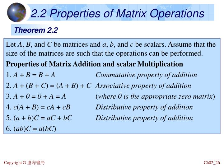 2.2 Properties of Matrix Operations