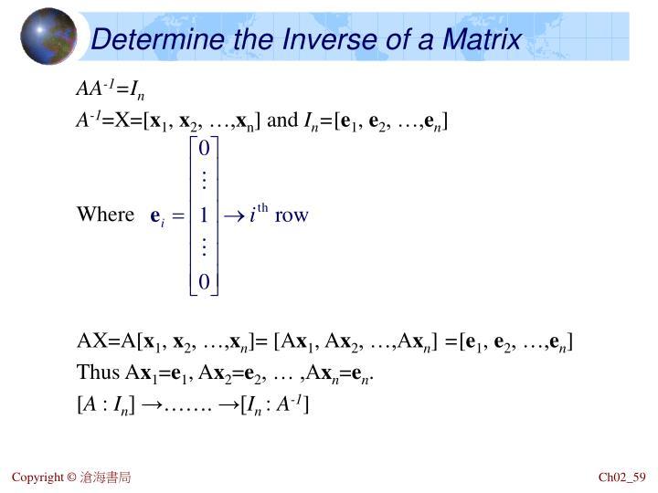 Determine the Inverse of a Matrix
