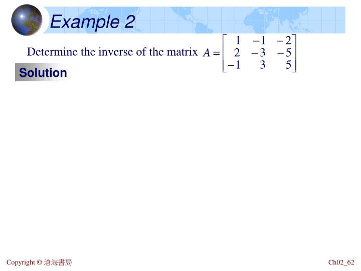 Determine the inverse of the matrix