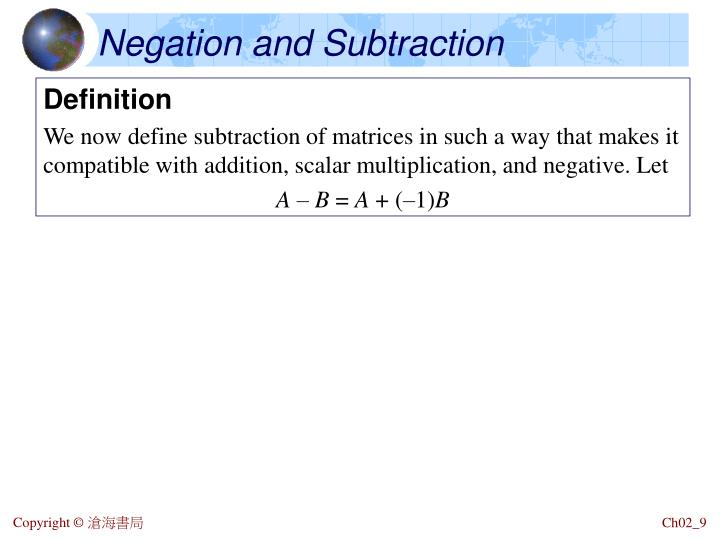 Negation and Subtraction