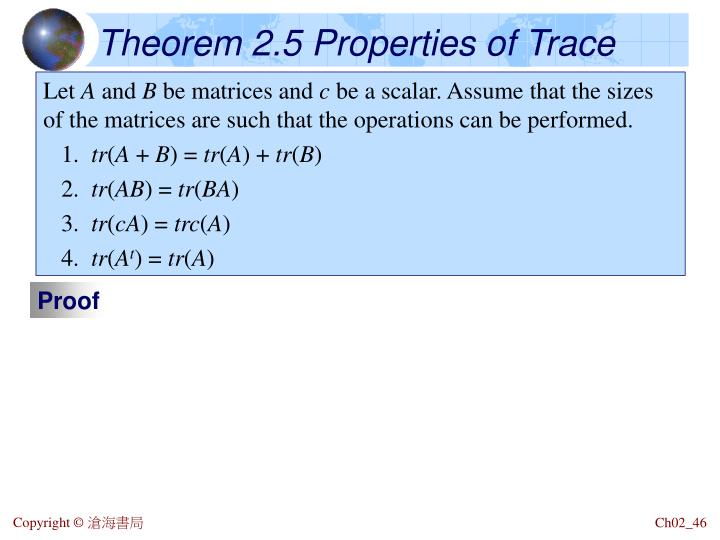 Theorem 2.5 Properties of Trace