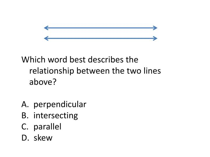 Which word best describes the relationship between the two lines above?