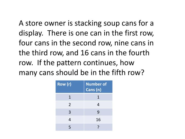 A store owner is stacking soup cans for a display.  There is one can in the first row, four cans in the second row, nine cans in the third row, and 16 cans in the fourth row.  If the pattern continues, how many cans should be in the fifth row?