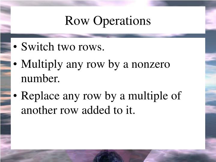 Row Operations