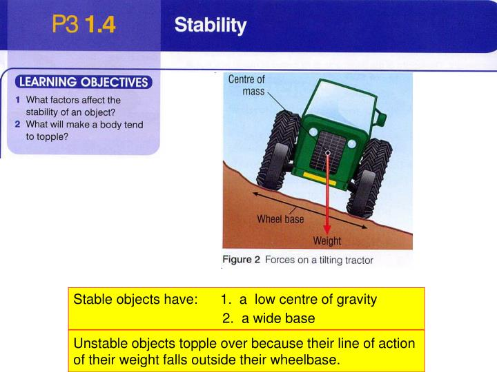 Stable objects have:      1.  a  low centre of gravity