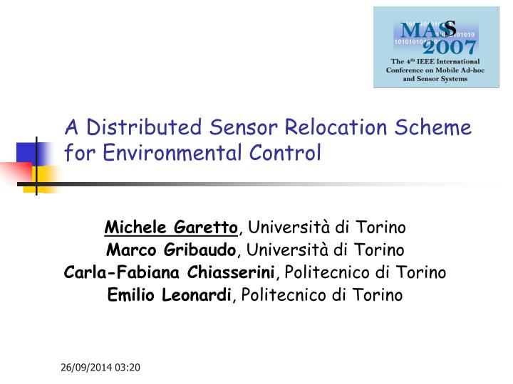 A distributed sensor relocation scheme for environmental control
