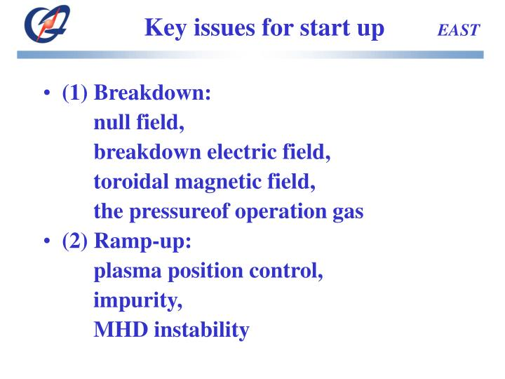 Key issues for start up