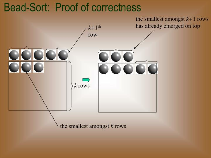 Bead-Sort:  Proof of correctness