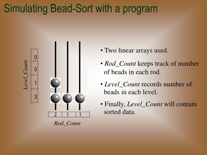 Simulating Bead-Sort with a program