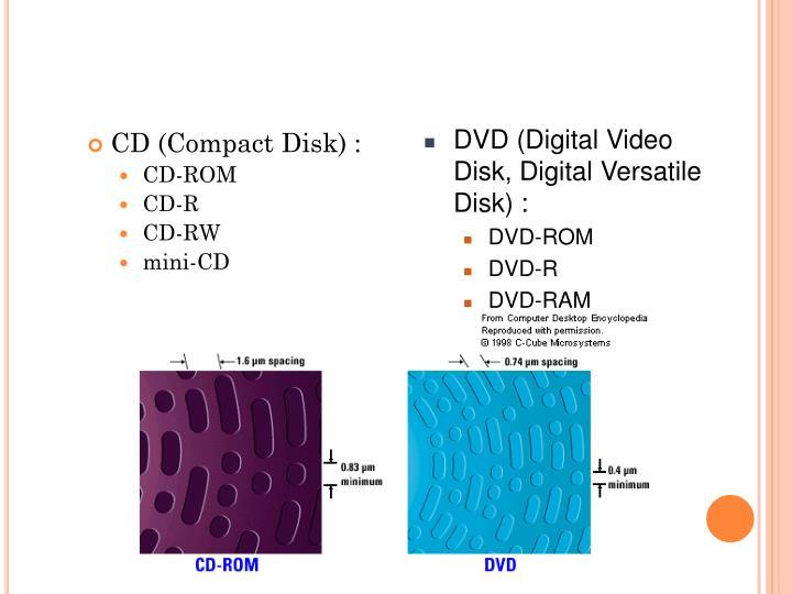 DVD (Digital Video Disk, Digital Versatile Disk) :