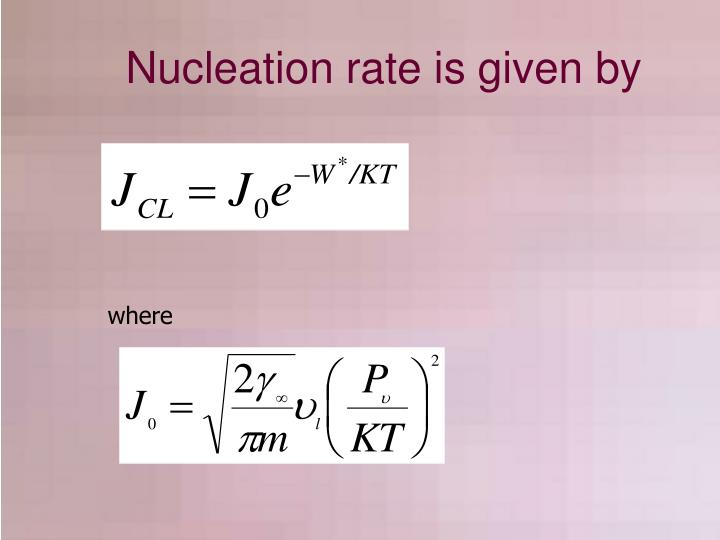 Nucleation rate is given by