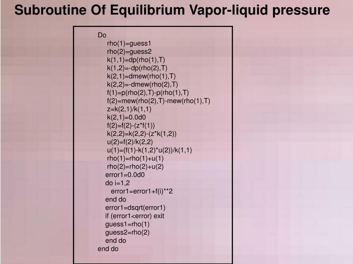 Subroutine Of Equilibrium Vapor-liquid pressure
