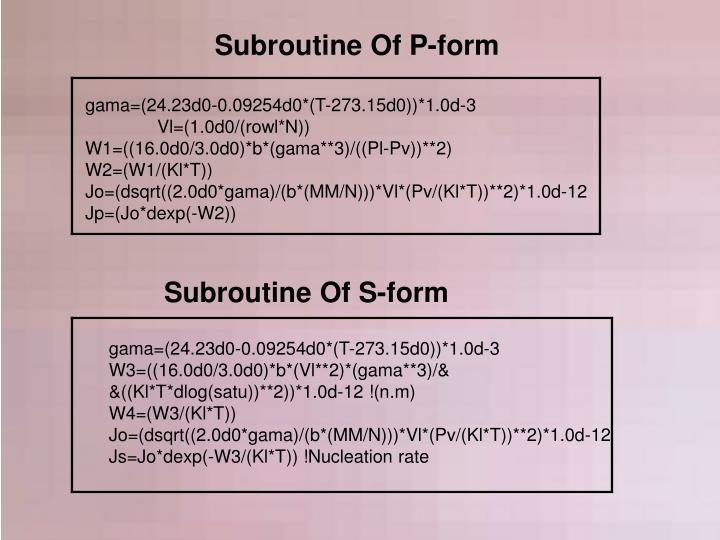 Subroutine Of P-form