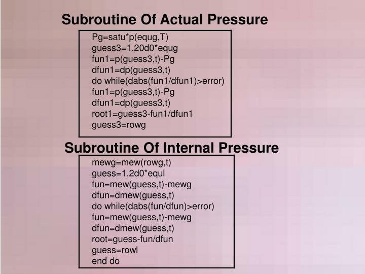 Subroutine Of Actual Pressure