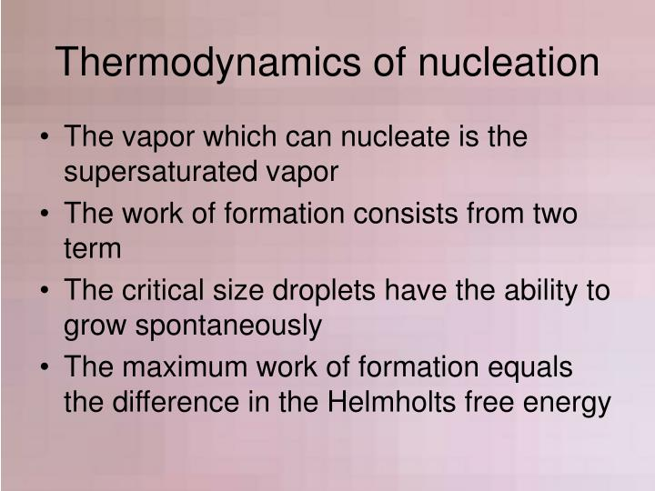 Thermodynamics of nucleation