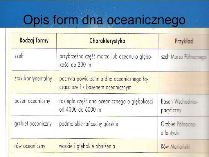 Opis form dna oceanicznego