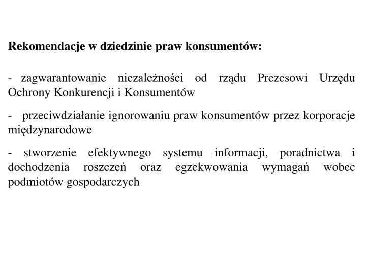Rekomendacje w dziedzinie praw konsumentów: