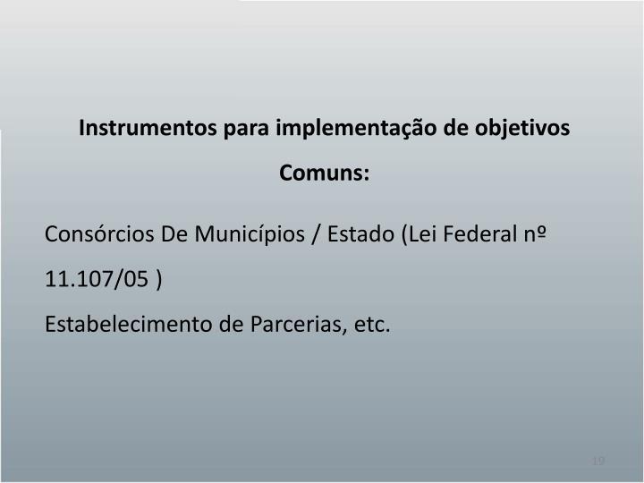 Instrumentos para implementação de objetivos Comuns: