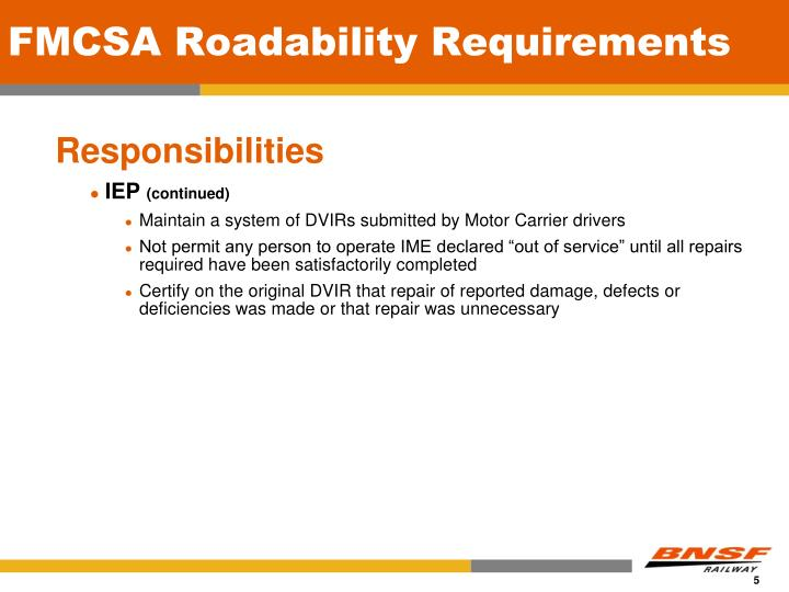 FMCSA Roadability Requirements