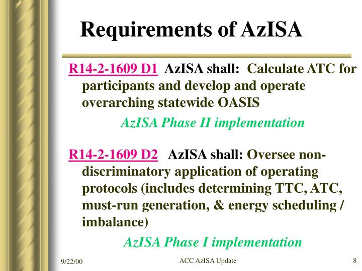 Requirements of AzISA