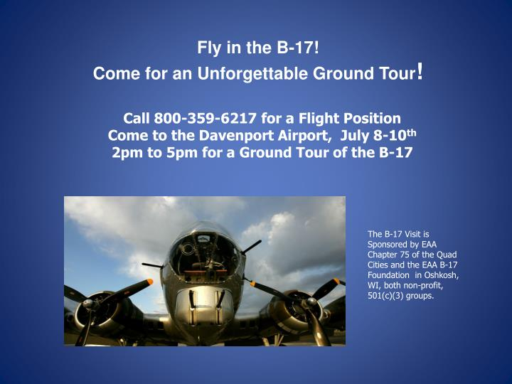 Fly in the B-17!