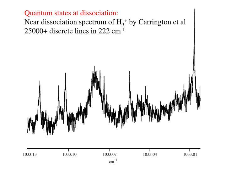 Quantum states at dissociation: