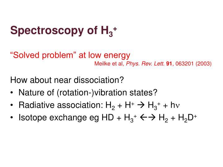 Spectroscopy of H
