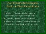 non foliated metamorphic rocks their parent rocks