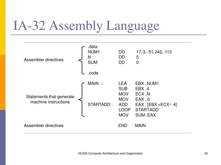 IA-32 Assembly Language