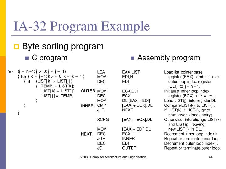 IA-32 Program Example