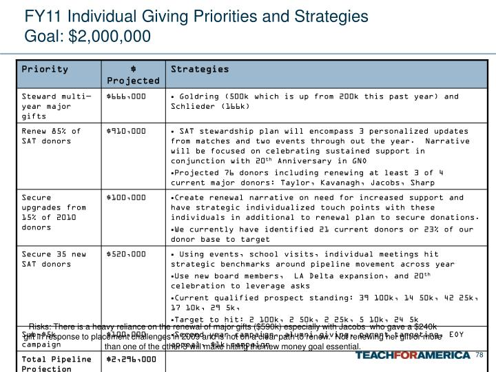 FY11 Individual Giving Priorities and Strategies