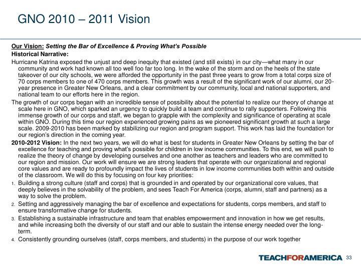 GNO 2010 – 2011 Vision