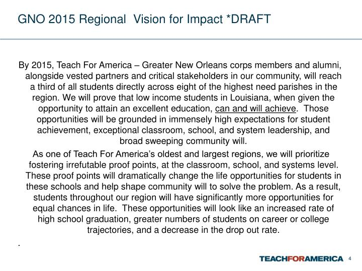GNO 2015 Regional  Vision for Impact *DRAFT