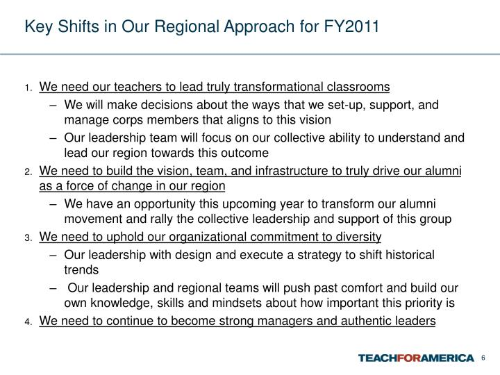 Key Shifts in Our Regional Approach for FY2011
