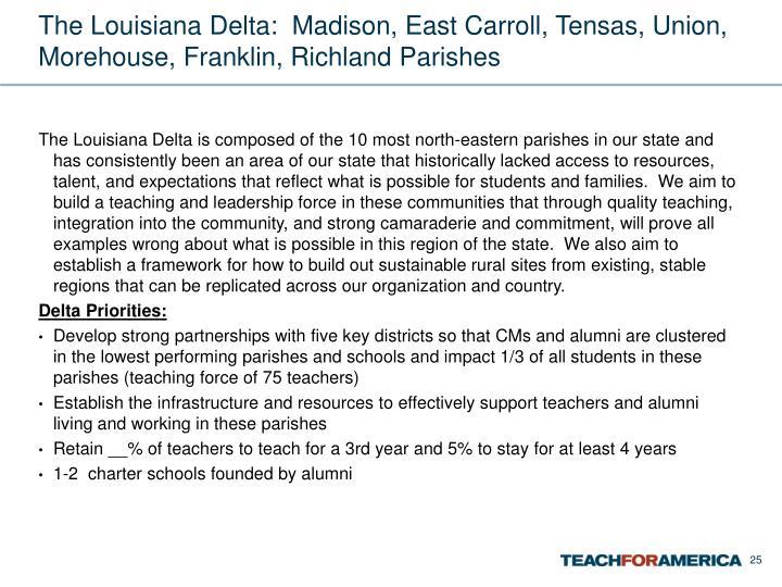 The Louisiana Delta:  Madison, East Carroll, Tensas, Union, Morehouse, Franklin, Richland Parishes