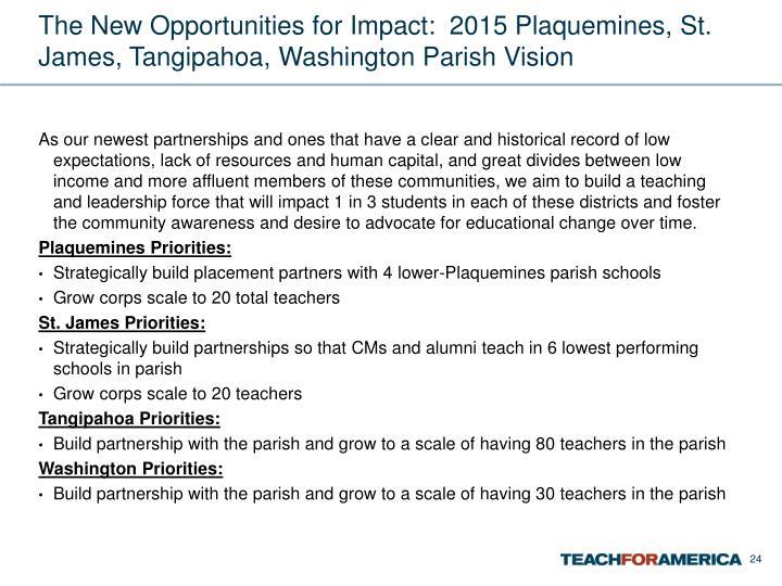 The New Opportunities for Impact:  2015 Plaquemines, St. James, Tangipahoa, Washington Parish Vision