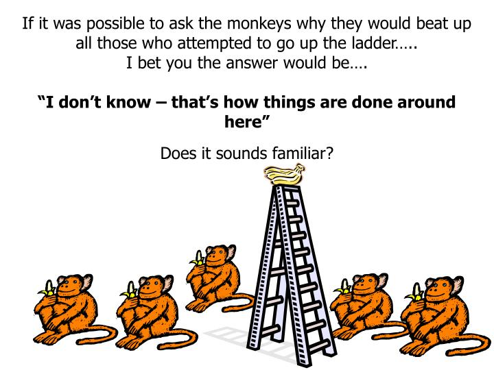 If it was possible to ask the monkeys why they would beat up all those who attempted to go up the ladder…..
