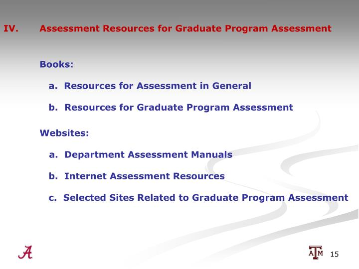IV.  Assessment Resources for Graduate Program Assessment