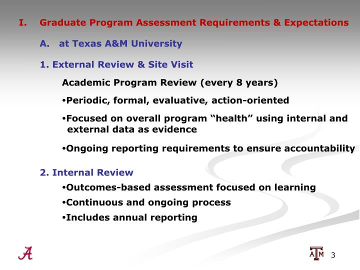 I.  Graduate Program Assessment Requirements & Expectations