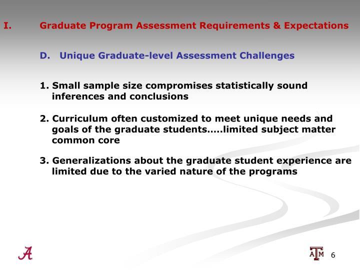 I.  Graduate Program Assessment Requirements & Expectations