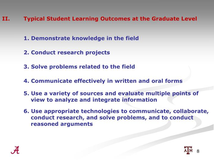 II.  Typical Student Learning Outcomes at the Graduate Level