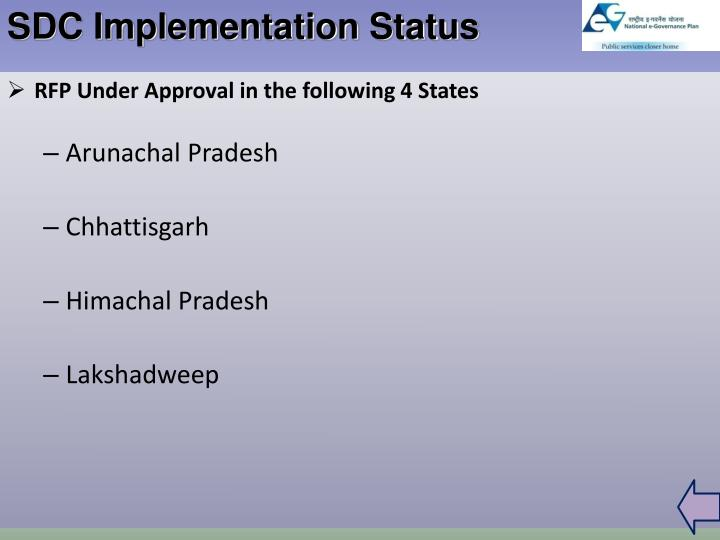 SDC Implementation Status