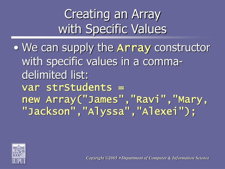Creating an Array