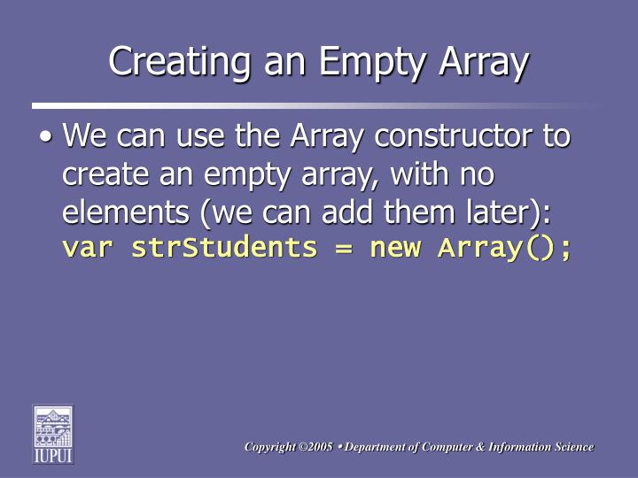 Creating an Empty Array