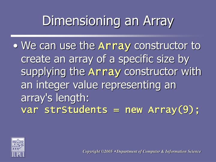 Dimensioning an Array