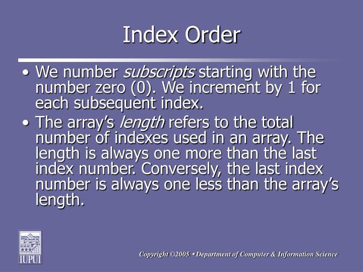 Index Order