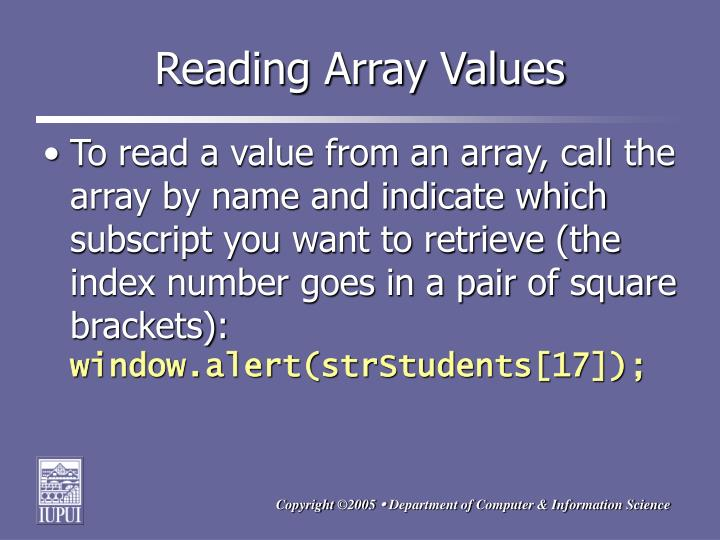 Reading Array Values