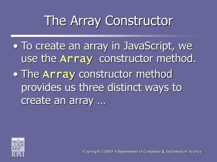 The Array Constructor