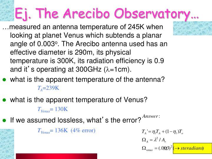Ej. The Arecibo Observatory…