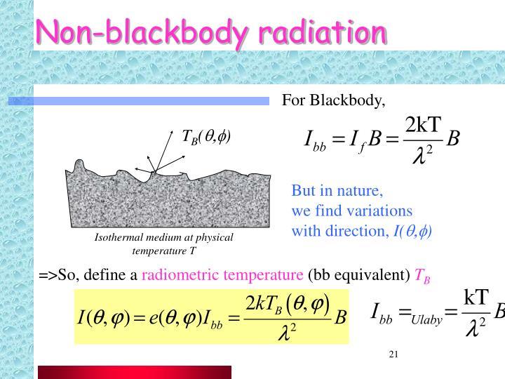 Non-blackbody radiation